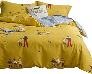 LAYENJOY 100% Cotton Yellow Duvet Cover Set Twin Childhood Family Friend Theme Bedding Set for Kids Teens Boys Girls Gray Reversible Cartoon Character Star Letter Print Comforter Cover, No Comforter