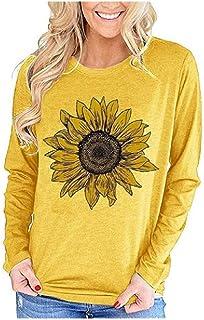 Loyomobak Womens Crewneck Long Sleeve Tee Tops Flower Print Tee Blouse T Shirts