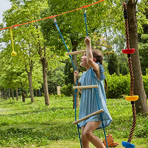 ZELUS Ninja Line Backyard Obstacle Training Course 40' Slackline – Complete Hanging Monkey Bars kit for Kids with Ladder, Rope...