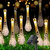 Cadena de Luces Solares de Gotas de Agua, ZVO 7M 50LED Luces Guirnalda Exterior Solar, 8 Modos Luminaria Solares Decoracion ip65 Impermeabile para Interior y Jardín, Fiestas, Navidad(Blanco cálido)