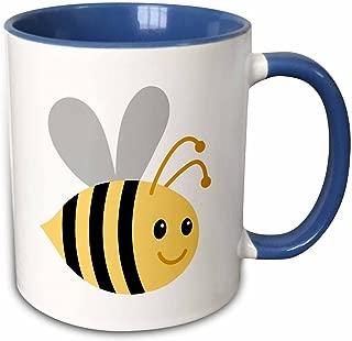 3dRose 224192_6 Cute Cartoon Bumble Bee Two Tone Blue Mug, 11 oz