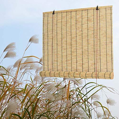 WYCD Estores de Bambú Natural, Persianas de Bambú, Estor Enrollable de Bambú, Persianas de Caña, Sombreado/Transpirable, Toldo Vertical, para Interiores/Exteriores