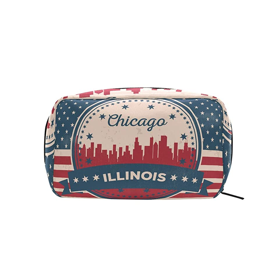 Vintage American Flag Illinois State Chicago Skyline Makeup Case Cosmetic Bag
