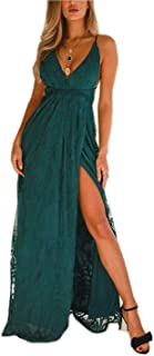 FFLMYUHUL I U Women Strap Lace up Backless V-Neck Embroidery Maxi Dress