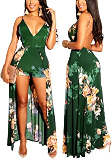 Romper Split Maxi Dress High Elasticity Floral Print...