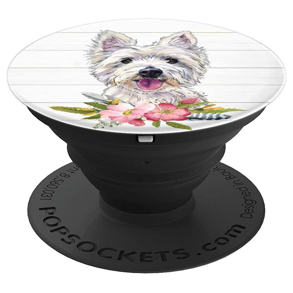 West Highland Terrier Westie Dog Lover Flowers Drawing - PopSockets Grip and Stand for Phones and Tablets