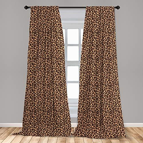 "Ambesonne Leopard Print Curtains, Orange Color Leopard Texture Illustration Exotic Fauna Inspired Pattern, Window Treatments 2 Panel Set for Living Room Bedroom Decor, 56"" x 84"", Orange Black"