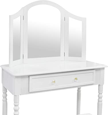 Sotech - Table de Maquillage, Coiffeuse, Un Grand tiroir, 3 miroirs, Blanc, Matériau: MDF, Dimensions du Miroir: 80,0 x 59,9 cm