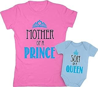 Mother & Son Matching Set Gift for Mom Baby Boy Shower Bodysuit & Women T-Shirt