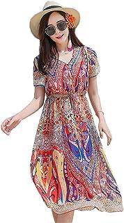 女性用ビーチドレス 女性半袖Vネック花柄ボヘミアンビーチドレスサンドレス夏の休日のドレスパーティーカジュアルドレスエレガントなウエストネクタイプリントドレス サマードレス (色 : Colorful, サイズ : XL)