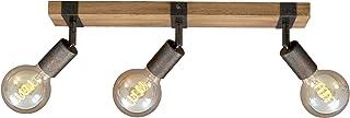 Briloner Leuchten 2900-031 rétro, plafonnier Vintage, Spots orientables et pivotants, 3X E27, métal-Bois, Couleur : Gunmet...