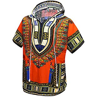 Orang African Dashiki Shirt Unisex Africa Indian Traditional Hoodie Top Clothes One Size fits All (Orange):Carsblog