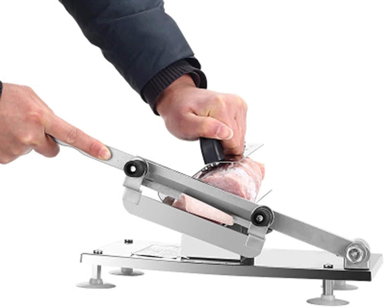 ZXCV Outils de Cuisine Machine à trancher la Viande, trancheuse à Viande et légumes réglable d'épaisseur Manuelle, Alliage + Acier Inoxydable Silver