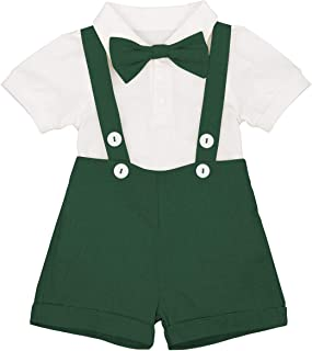 Baby Boys Formal Suit Set Short Sleeve Romper Suspenders Shorts Pants Bowtie Wedding Tuxedo Outfits Cake Smash Clothes