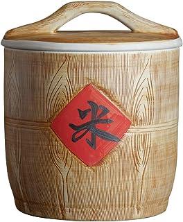 Pots et bocaux de conservation Cylindre de riz scellé en céramique Boîte de rangement for le riz de cuisine Réservoir de s...