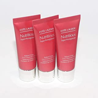 Estee Lauder Nutritious Super-Pomegranate Radiant Energy 2-In-1 Cleansing Foam Lot of 3 1.0 oz/30 ml Each