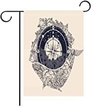 Garden Flag Double Sided Decorative Flags Antique compass and floral whale tattoo art Mystical symbol of adventure dreams Compass and Whale t shirt design Best for Party Yard and Home Outdoor Decor