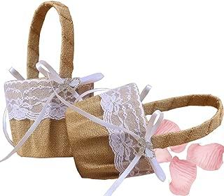 Dzty 2pcs Double Heart Burlap Wedding Flower Girl Basket with Bowknot Rustic Flower Girl Basket…