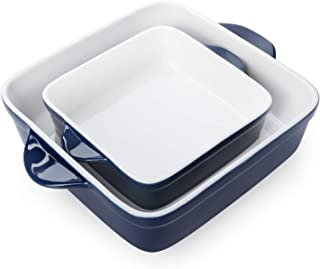 Sweese 514.203 Porcelain Baking DishSet of 2, Square Lasagna Pans, 8 x 8 inch & 6 x 6 inch Non-stick Brownie Pan with Dou...