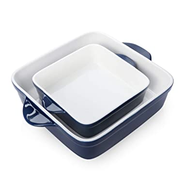 Sweese 514.203 Porcelain Baking Dish Set of 2, Square Lasagna Pans, 8 x 8 inch & 6 x 6 inch Non-stick Brownie Pan with Double Handle - Navy