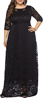 cfb829c42de Eternatastic Womens Floral Lace 2 3 Sleeves Maxi Dress Plus Size Evening  Party Dress