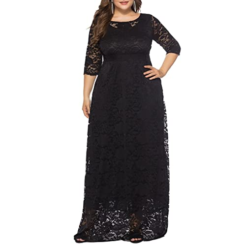 166272701c0 Eternatastic Womens Floral Lace 2 3 Sleeves Maxi Dress Plus Size Evening  Party Dress