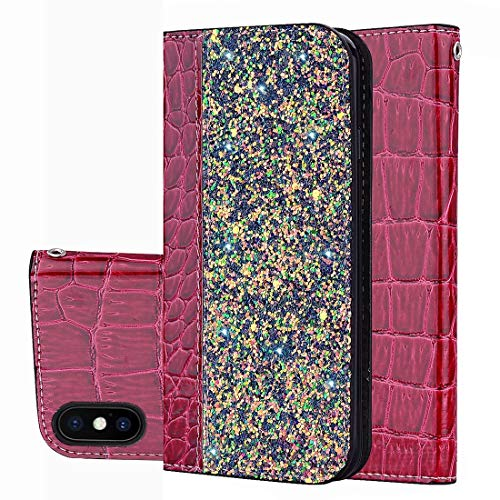 XYAL00020012 Xingyue Aile Hoezen & Hoezen voor iPhone X/XS, Crocodile Texture Glitter Poeder Horizontale Schakelaar Lederen Hoesje met Kaartsleuven & Houder, Wijn Rood
