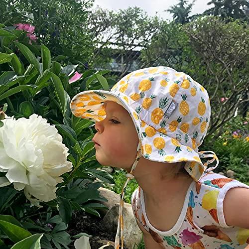 JAN & JUL Infant Summer Cotton Sun-Hat, UPF 50+, Foldable (S: 0-6 Months, Yellow Pineapple)