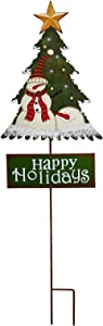 Merry Christmas Garden Stake Decor Christmas Tree Yard Stake, Outdoor Metal Christmas Welcome Sign Garden Stake Yard Sign Lawn Stake Christmas Snowman Yard Decor Holiday Decoration (Red Hat Snowman)