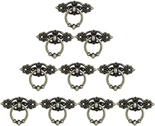 Kbnian Pull Handle Knob 10Pcs Vintage Drawer Ring with Screws 65x32mm Antique Brass Furniture Decor Pull Ring for Kitchen Cabinet Cupboard Dresser Door