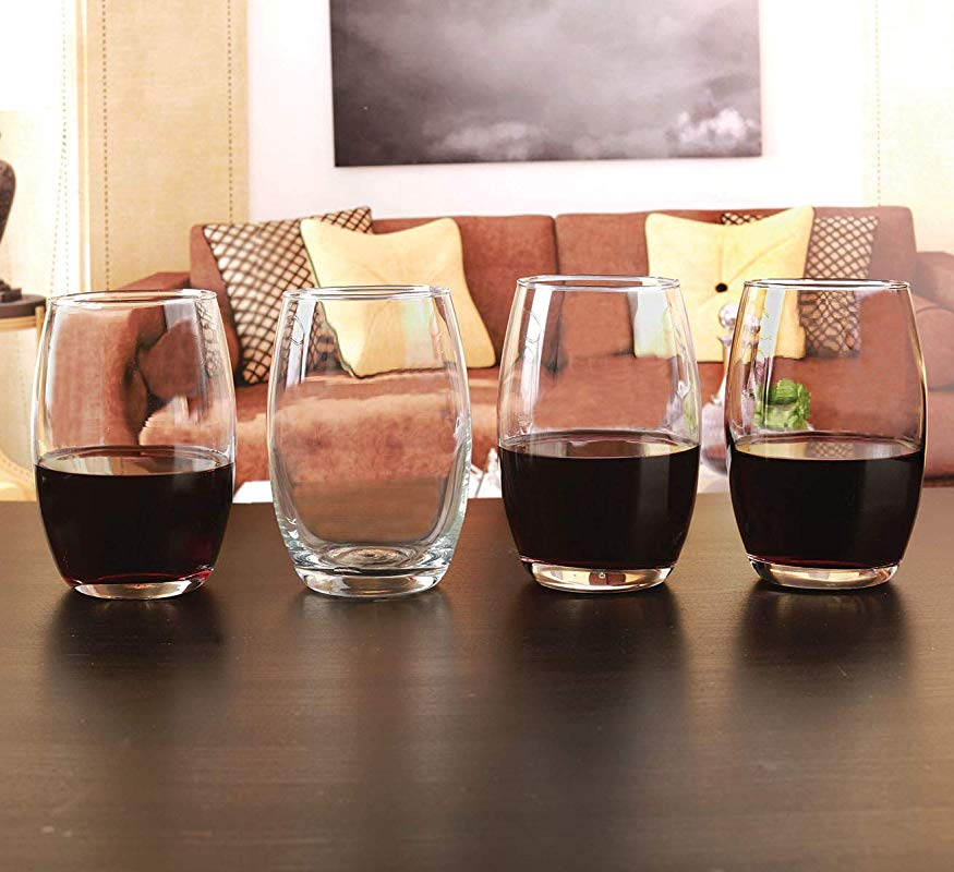 Circleware 44583 Newtown Stemless Wine Glasses 4 Piece Set Fun Drinking Glassware Party Beverage Cups For Water Juice Beer Liquor Whiskey Best Home Bar Decor 16 Oz