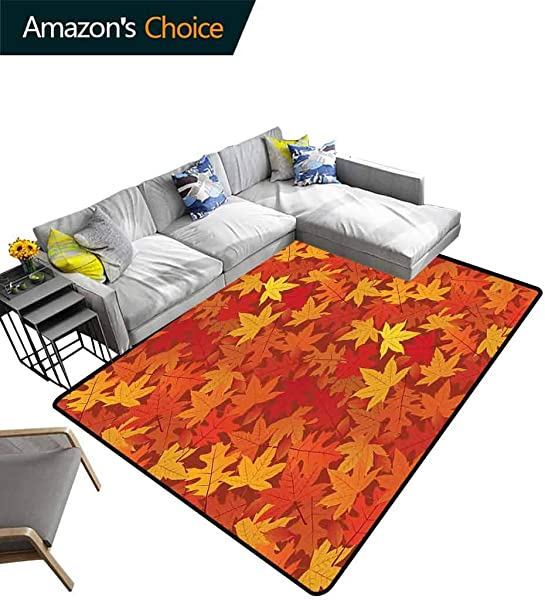 Burnt Orange Ikat Area Rug Entryway Multi Colored Autumn Fall Maple Leaves In Unusual Designs Nature Theme Artprint Durable Rugs Living Dinning Rooms Bedrrom Hallway Carpet 5 X 8