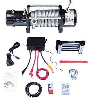 ECCPP Winches, 12V 13000 LBS Electric Winch+Aluminum Fairlead+Steel Cable+Control Box Assembly+Wireless/Hand Remote Controller+Negative Wire+Hook+Bolts for SUV/ATV/4WD/Off Road