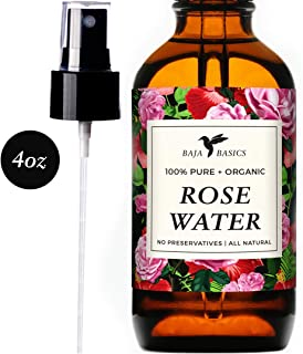 Rose Water 100% Pure Toner and Spray by Baja Basics For Skin, Hair and Aromatherapy Large 4oz