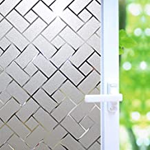 No Glue Window Film Privacy, Frosted Window Decal/Privacy Protection/Heat Control/Anti UV, Latticed Frosting Stained Glass Static Cling for Home/Office, 17.7x78.7 inch