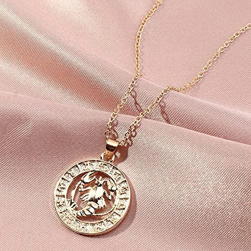HUREWQ collarCollar de Signos del Zodiaco para Mujeres Hombres Aries Virgo Libra Escorpio Sagitario Acuario Constelaciones Collares Pendientes joyería