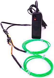 GloFX 3 ft Moving Tracer EL Wire - Green - Motion Light Up Wires - 2 Mode Sound Activated Portable Battery six feet Foot AA Glowing Illuminated Electroluminescent