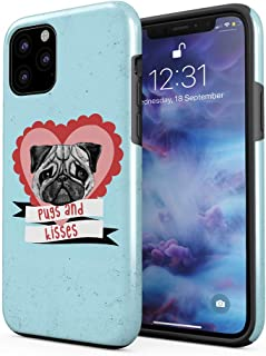 Cute Pugs & Kisses Love Heart Compatible with iPhone 11 Pro Max Silicone Inner/Outer Hard PC Shell Hybrid Armor Protective Case Cover