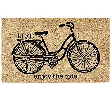 DII Indoor/Outdoor Natural Coir Easy Clean Rubber Non Slip Backing Entry Way Doormat For Patio, Front Door, All Weather Exterior Doors, 18 x 30  - Bicycle