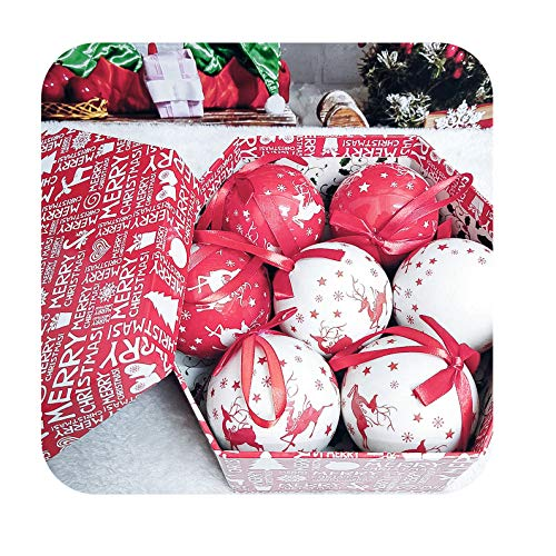 Christmas Xmas Tree Hanging Ball Ornaments decorations Gift New Year Navidad Ball Bauble for DIY Xmas Party with Belts-7 pcs ball L7-2