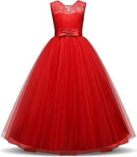 NNJXD Vestido de la Princesa de Las Muchachas sin Mangas Elegante de Vestidos de Fiesta de la Flor Bordada