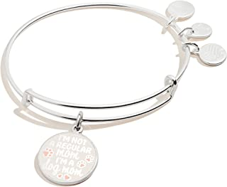 Alex and Ani Expandable Wire Bangle Bracelet for Women, I'm a Dog or Cat Mom Charm, Shiny Finish, 2 to 3.5 in