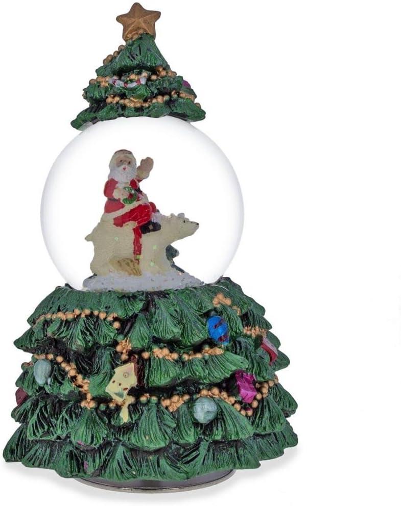 BestPysanky Santa 5 ☆ popular Riding Polar Bear Glo Snow Musical favorite Rotating in