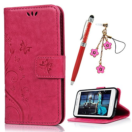 S5 Mini Hülle Case YOKIRIN Tasche Rose Rote PU Leder Handycase Schmetterling Wallet Schutzhülle Kunstlederhülle Handytasche Flipcase für Samsung Galaxy S5 Mini Bookstyle Ständer Kartenfächer