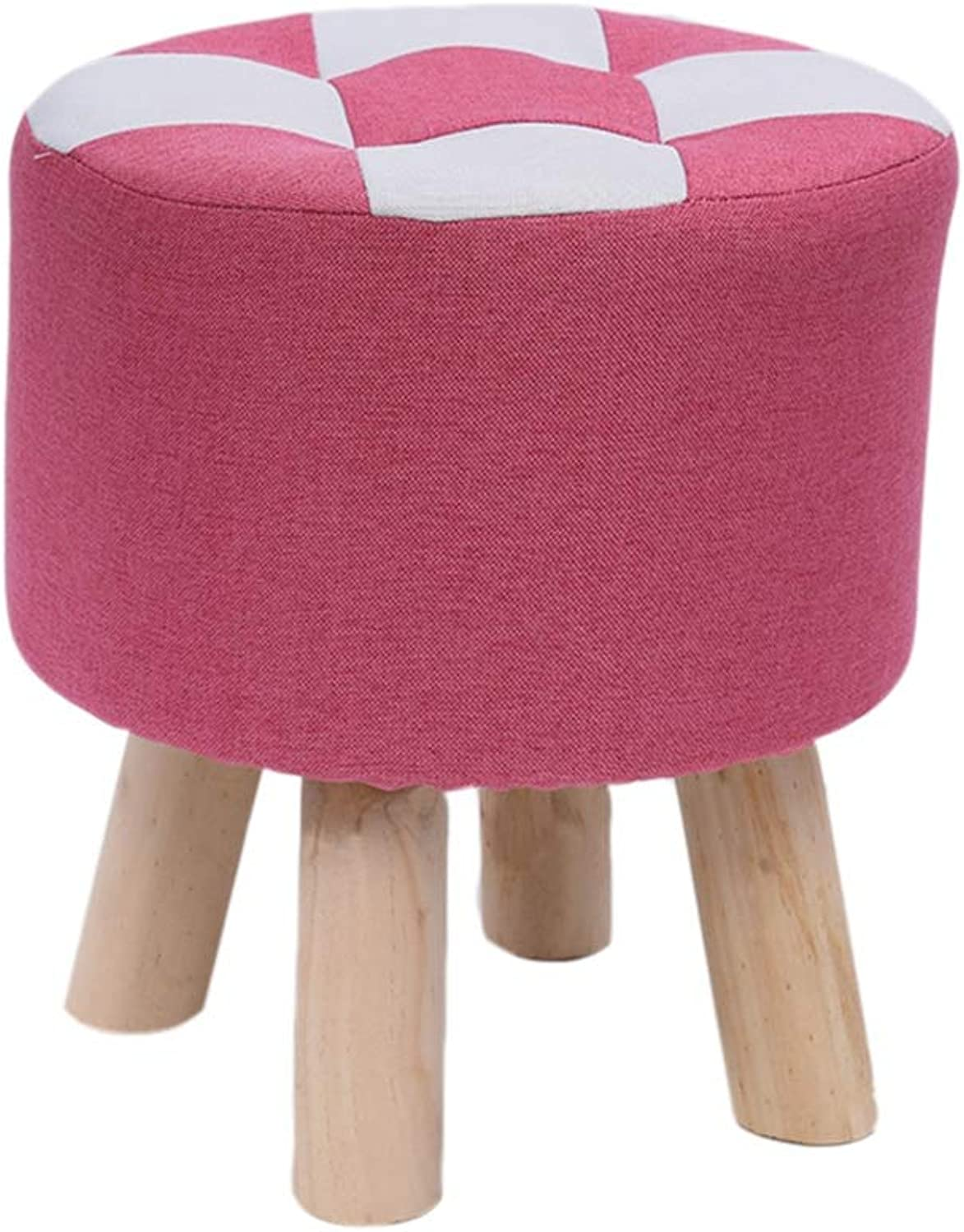 GWDJ Footrest, Small Bench, Living Room Leisure Sofa Stool, Solid Wood Low Stool, Cloth Foyer Changing His shoes Stool, 28 35 cm Height, 9 colors Reinforced Footrest (color   Pink, Size   31  35cm)