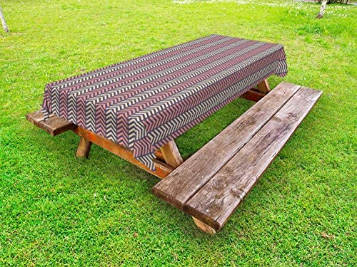 ABAKUHAUS Pijl Tafelkleed voor Buitengebruik Herringbone genspireerd ontwerp Decoratief Wasbaar Tafelkleed voor Picknicktafel 58 x 84 cm Coral Pale Mosterd