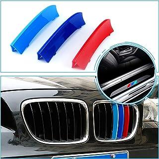 適用 09-15 BMW X1 E84 (7グリル)M フロント グリル トリム カバー バックル エンブレム ドレスアップカバー グリルストライプ 丶スカッフプレート保護 ステッカードア サイドドア キズ 防止 (7個セット)