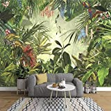 YPDWYJL Papel pintado de foto de hoja de plátano pintado a mano retro europeo dormitorio sala de estar TV Fondo pared tela de seda mural 3D pegatinas de pared