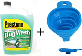 Prestone Bug Wash - Summer Windshield Washer Fluid - Safe for Rain Sensing Windshield Wipers - 1 Gallon (3.78L) with Foldable Silicone Funnel (Color May Vary)