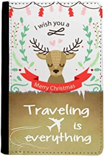 Christmas Deer Festival Pattern Traveling quato Passport Holder Travel Wallet Cover Case Card Purse